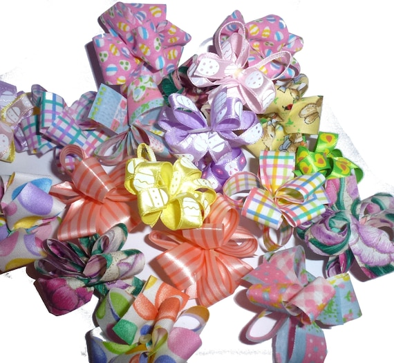 Puppy Bows ~ Easter spring Party puffs dog grooming bows -  FREE SHIPPING