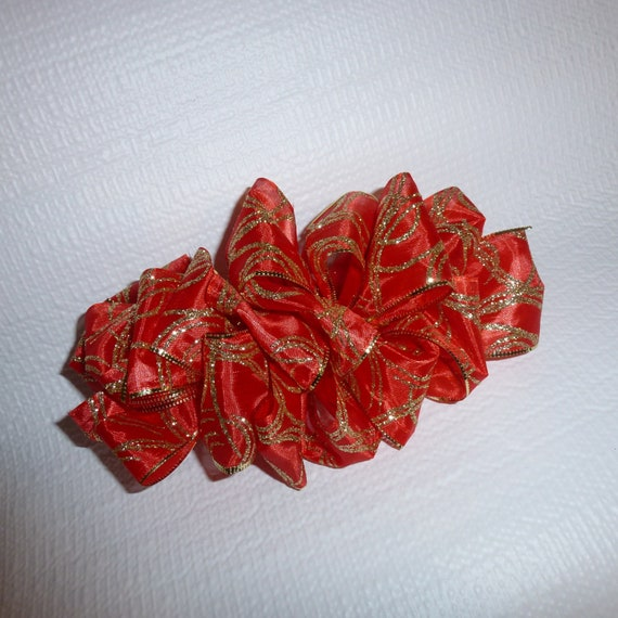 Becky Hair Bows for ladies ~  Barrette Hand crafted huge ribbon BIG hair bow  or Girls giant Red gold swirl