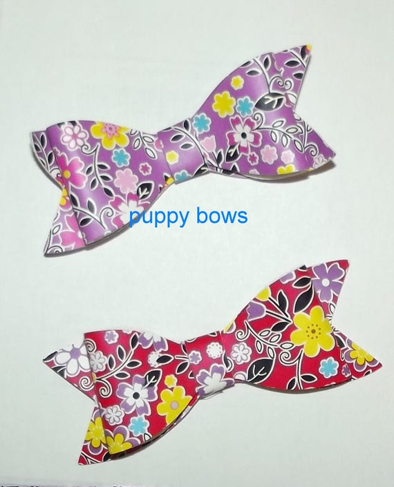 Puppy Bows ~ Red or Purple floral daisy bows barrette pet hair clip  ~USA seller (fb22)