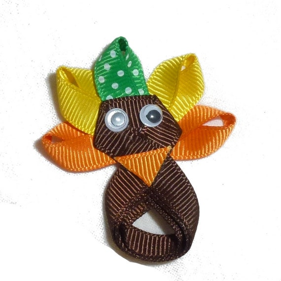 Puppy Bows ~ Thanksgiving Turkey  dog bow  pet hair clip barrette or latex bands or collar slide (fb145)