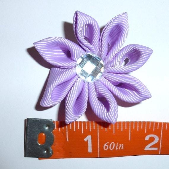 Puppy Bows ~  handmade purple Japanese Kanzashi flower dog hair bow  (fb63)