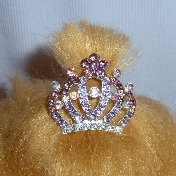 Puppy Bows ~Dog tiara crown styles 33 pink purple blue crystal ~USA seller