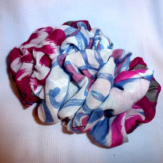 Becky Bows ~  Barrette ribbon Hand crafted over sized  BIG hair bow Women or Girls raspberry and steel blue