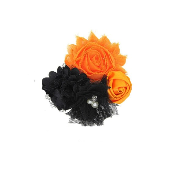 Puppy Bows ~ Dog collar slide bow large dog hair bows halloween orange black lace and pearls ~USA seller (dc7)