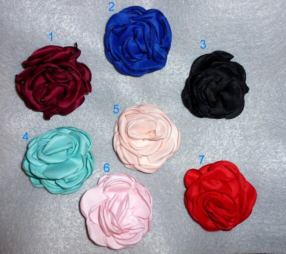 Puppy Bows ~  FLUFFY petal roses  flower MANY assorted colors  pet hair bow barrettes or bands (fb105)