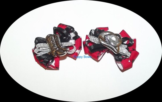 Puppy Bows ~Cowboy hat or boots red black silver dog bow  pet bands, hair clip or  barrette  (fb31)