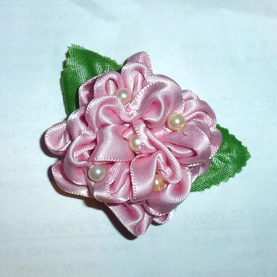 Puppy Bows ~Pink satin dahlia flower dog bow  pet hair clip barrette or latex bands (fb136)