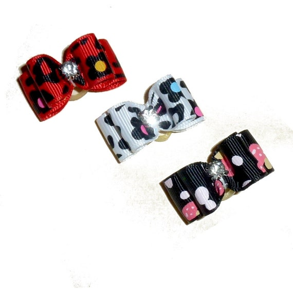 "Puppy Dog Bows ~ 5/8"" set of 3 animal print pet show bow"
