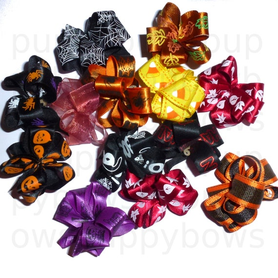 Puppy Bows ~ Party puffs THANKSGIVING or HALLOWEEN dog grooming hair bow latex band  round bows