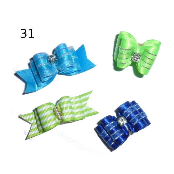 "Puppy Dog Bows ~ 5/8"" satin bowknot SET OF 4! boys pet hair show bow barrettes or bands (saset31-32)"