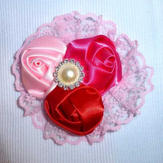 Puppy Bows ~ Dog collar slide bow large dog hair bows pink roses lace and rhinestones ~USA seller (fb162)