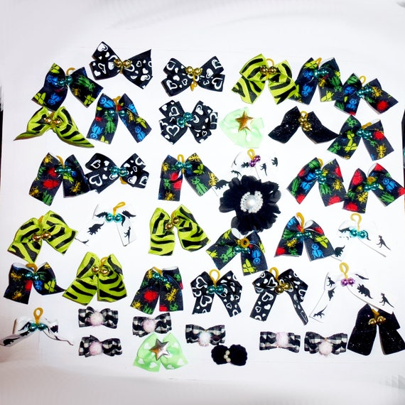 50 fancy bows for boys green black bugs dinosaurs dog grooming pet hair bows with latex band   (fb171)