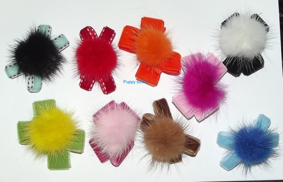 Posh Puppy Dog Bows ~ Mink and velvet fur balls pet hair bow Shih Tzu topknot barrette clip