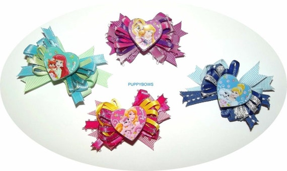 Puppy Bows ~ Disney Princess dog grooming bow pet hair barrette ariel cinderella (fb2)
