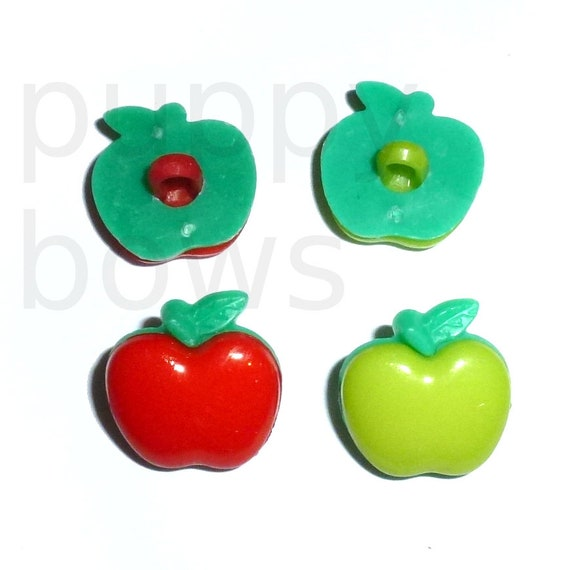 Puppy Bows ~ craft supplies 6 apple red or green buttons