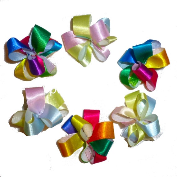 Puppy Bows ~  2 rainbow party puffs satin pet hair dog bow