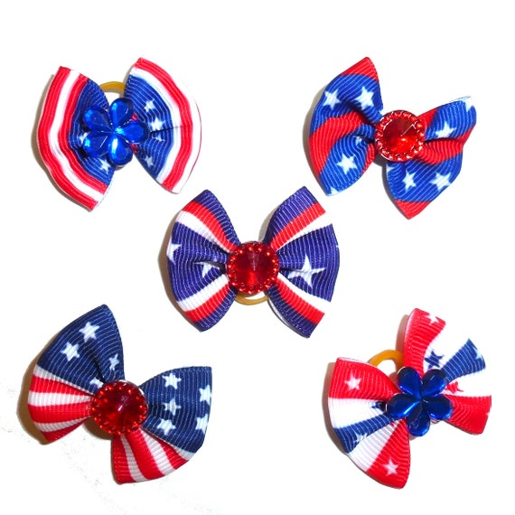 Puppy Bows ~ 4th of July USA American patriotic independence day dog grooming hair bow latex band  round bows (fb224)