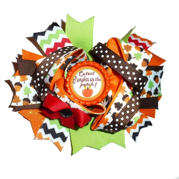 Puppy Bows ~ Dog collar slide bow Thanksgiving cutest pumpkin in the patch  accessory  (DC14)