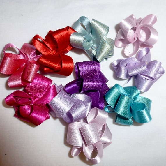 Puppy Bows ~ Metallic shimmer Party puffs dog grooming bows - 10 bow pairs FREE SHIPPING