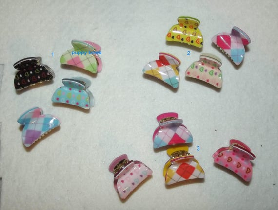 """Puppy Bows ~ CLEARANCE SALE set of 4 tiny 1"""" argyle plaid and heart jaw clip  ~ US Seller  (fb79)"""