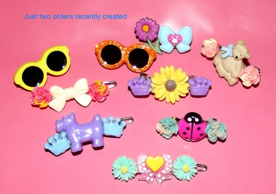 Puppy Bows ~ Set of 5 novelty dog barrettes flowers sunglasses heart and more pet hair accessories