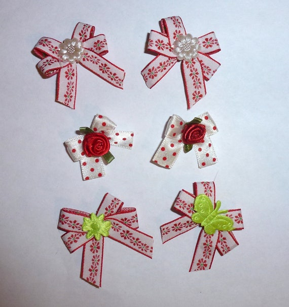 Puppy Bows ~6 tiny red daisy EVERYDAY BOWS Yorkie Maltese Shih Tzu ~Usa seller (fb81)
