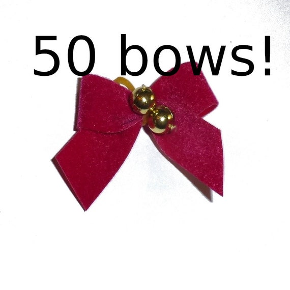 50 red Velvet everyday dog groomers grooming pet hair bows with latex band and gold bead center (fb164)