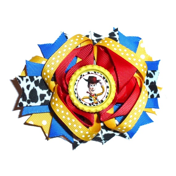 Puppy Bows ~ Dog collar slide bow large dog hair bows Woody toy red blue cowboy  ~USA seller (dc2)