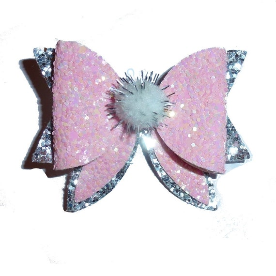 """Puppy Bows ~ Pretty in pink crystal 2.5"""" silver glitter pet hair bow  (fb275)"""