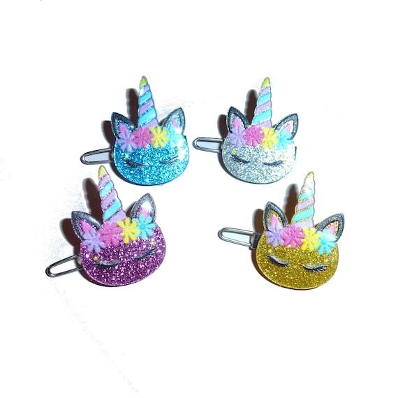 """Puppy Bows happy glitter unicorn  1"""" barrette bow clip or latex bands (fb278)"""