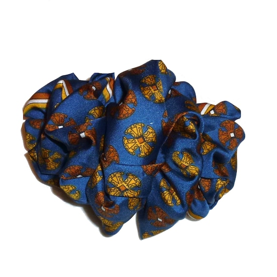 Becky Bows ~  Barrette  chiffon large vintage style scarf Hand crafted over sized  BIG hair navy gold
