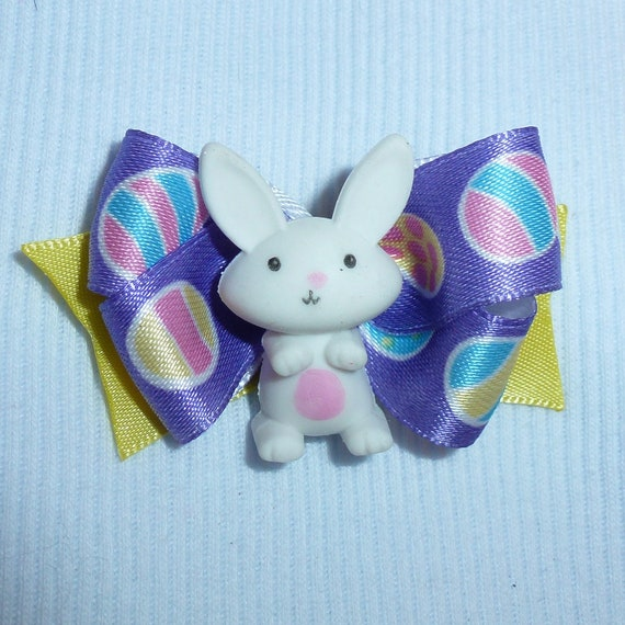 Puppy Bows ~Easter bunny rabbit dog bow  pet hair clip barrette or latex bands (fb133)