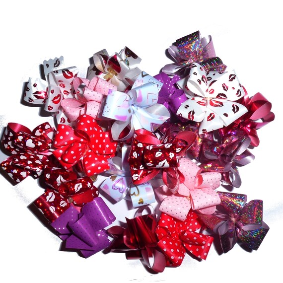 Puppy Bows ~ Valentine's day red heart Party puffs dog grooming bows -  FREE SHIPPING