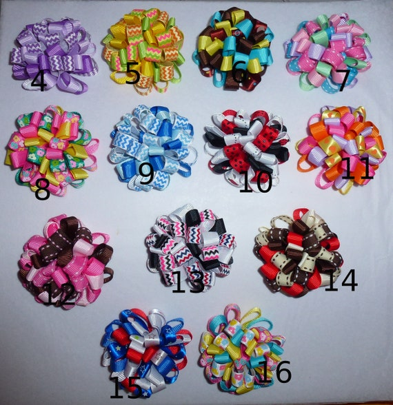 Puppy Bows ~ Fun multi loopy puff hair bows 16 COLOR CHOICES  barrette or bands pet dog bow