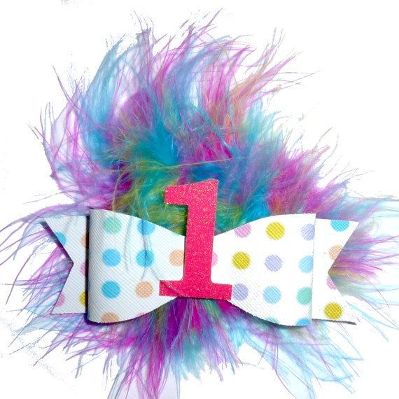 Puppy Bows ~Birthday marabou feather boa rainbow multicolor dog pet  hair bowknot bow bands or barrette or collar slide ~USA seller