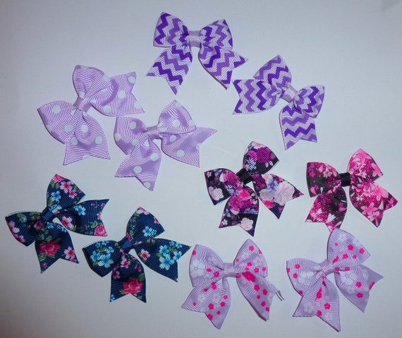 Puppy Bows ~ 10 dog bow for girls - pairs dog grooming pet hair bows - (218L)