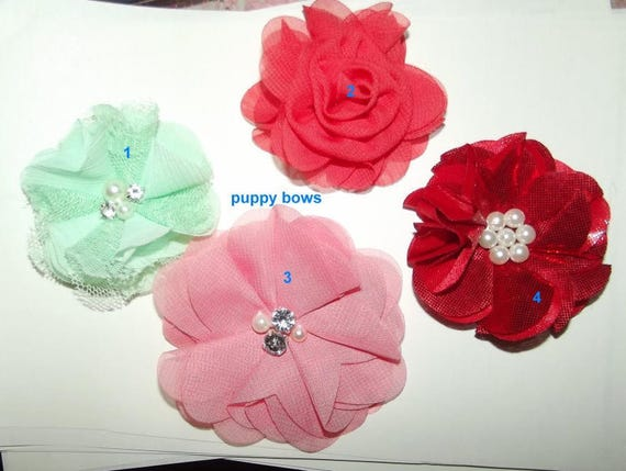 Puppy Bows ~ assorted round lace  flowers 5 colors grooming bow pet hair barrette  (fb67)
