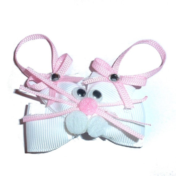 Puppy Dog Bows ~ Easter rabbit bunny head  pet hair  bow barrettes or bands collar slide (FB186)
