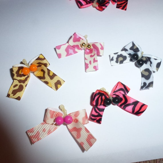 Puppy Bows ~PINK BROWN or BLACK tiny dog grooming bows animal print pet hair bows lot of 25 bows ~ usa seller