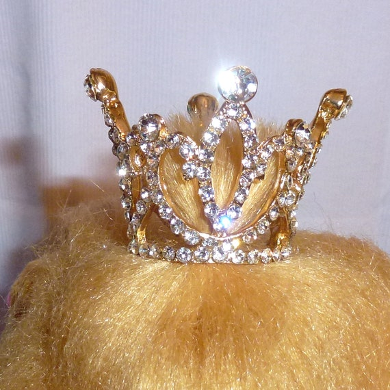 Puppy Bows ~ 3D gold tiara crown for dogs pet hair barrette