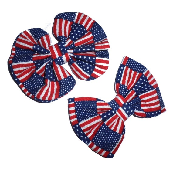 Puppy Bows ~ Large dog bow 4th of July independence day rosette or bow tie  red/white/blue dog collar slide accessory  ~USA seller (fb162)