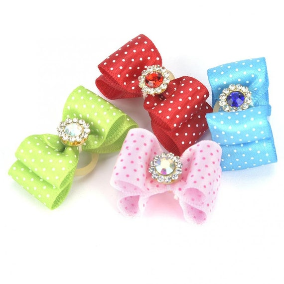 "Puppy Dog Bows ~ 5/8"" micro polka dots rhinestone jewel center double loop show topknot bow pink red green blue (FB170)"