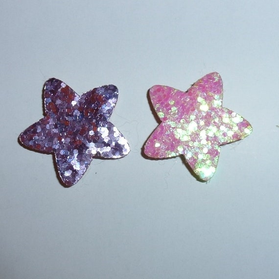 Puppy Dog Bows ~ Glitter star pink or purple tiny pet hair bow barrettes or bands (fb251)