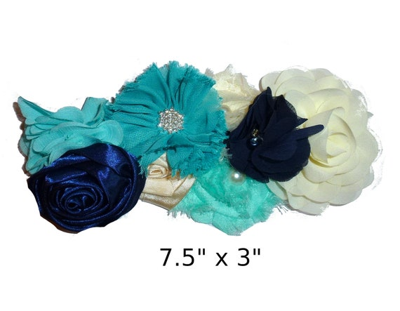 Puppy Bows ~ Extra long dog collar slide  accessory navy teal blue cream flowers pearls  ~USA seller (P5)