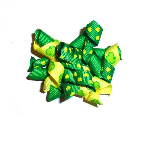 Puppy Bows ~  St. Patrick's day green yellow shamrock clover dog bow korker hair barrette or bands