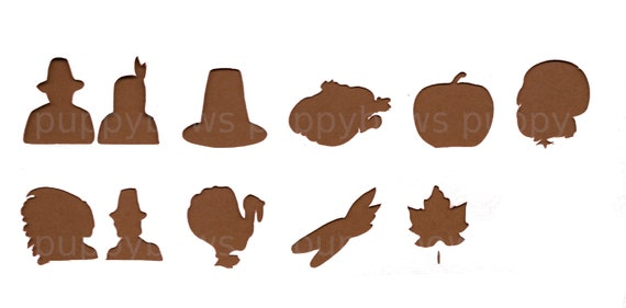 Puppy Bows ~  Thanksgiving pilgrim indian turkey pumpkin maple leaf  plastic craft stencil
