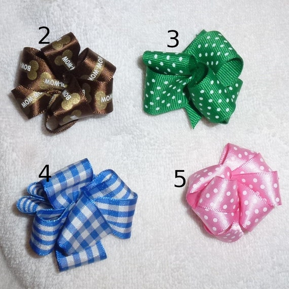 Puppy Bows ~ Premium party puffs  MANY COLORS barrette or bands pet dog bow