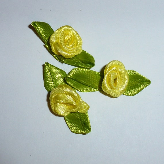 Puppy Bows craft items ~ 50 Ribbon rose yellow flower appliques satin green leaves