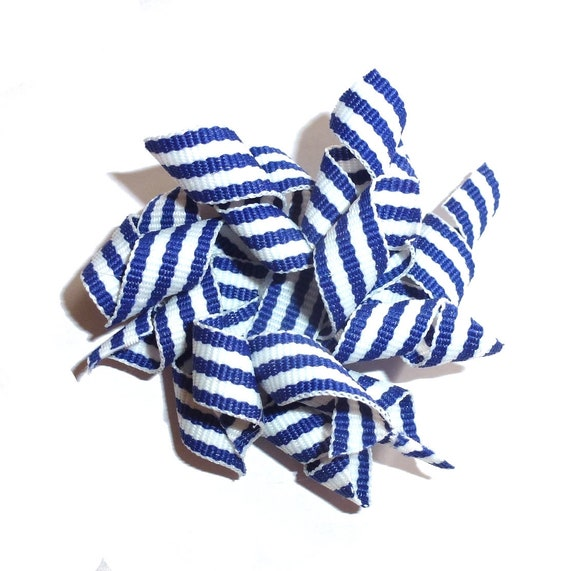 Puppy Bows blue white stripes Korker loop  dog bow  pet hair clip barrette or latex bands   (fb120)