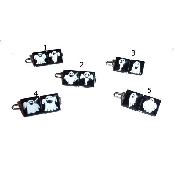 "Pet hair clips ~ Tiny 3/4"" Halloween ghost boy black white dog barrette hair clip"